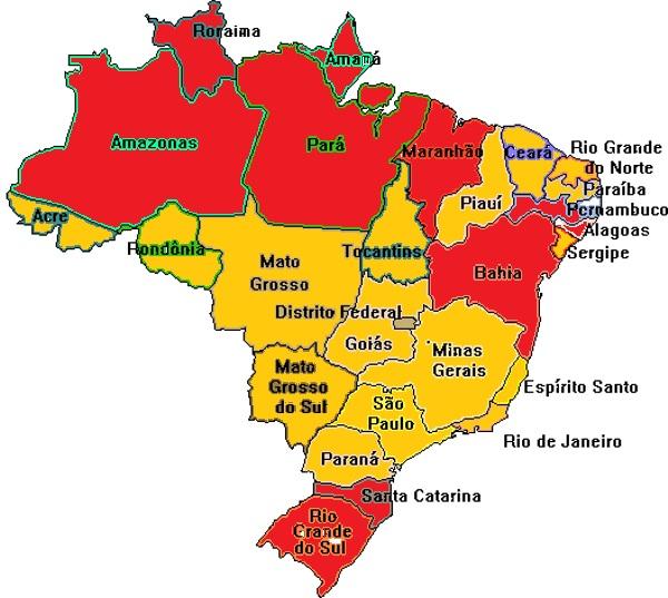 Mapa das Revoltas Regenciais